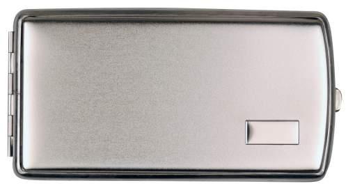 Zigarettenetui Metall chrom Streifen 16er mit Gummiband Made in Germany