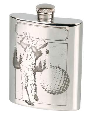 Flachmann English Pewter Zinn Golfspieler 6oz/180ml