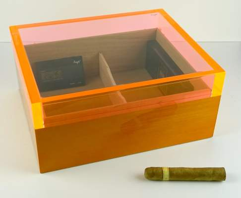 Angelo Humidor orange Acrylglas Sichtfenster
