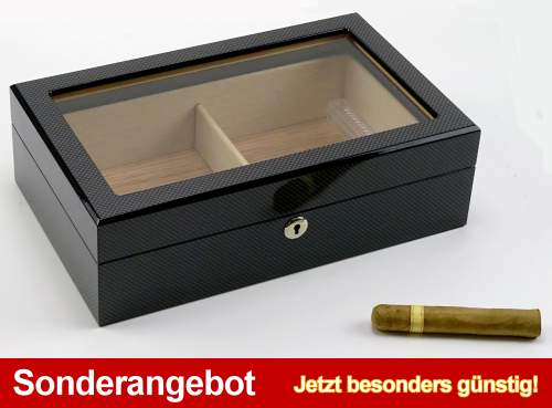 Humidor Carbon Finish hi-gloss Sichtfenster