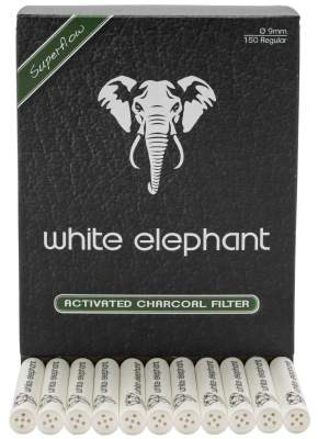 Pfeifenfilter White Elephant 9mm Aktivkohle Superflow in 150er Box