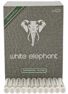Pfeifenfilter White Elephant 9mm Natural Supermix Superflow in 150er Box