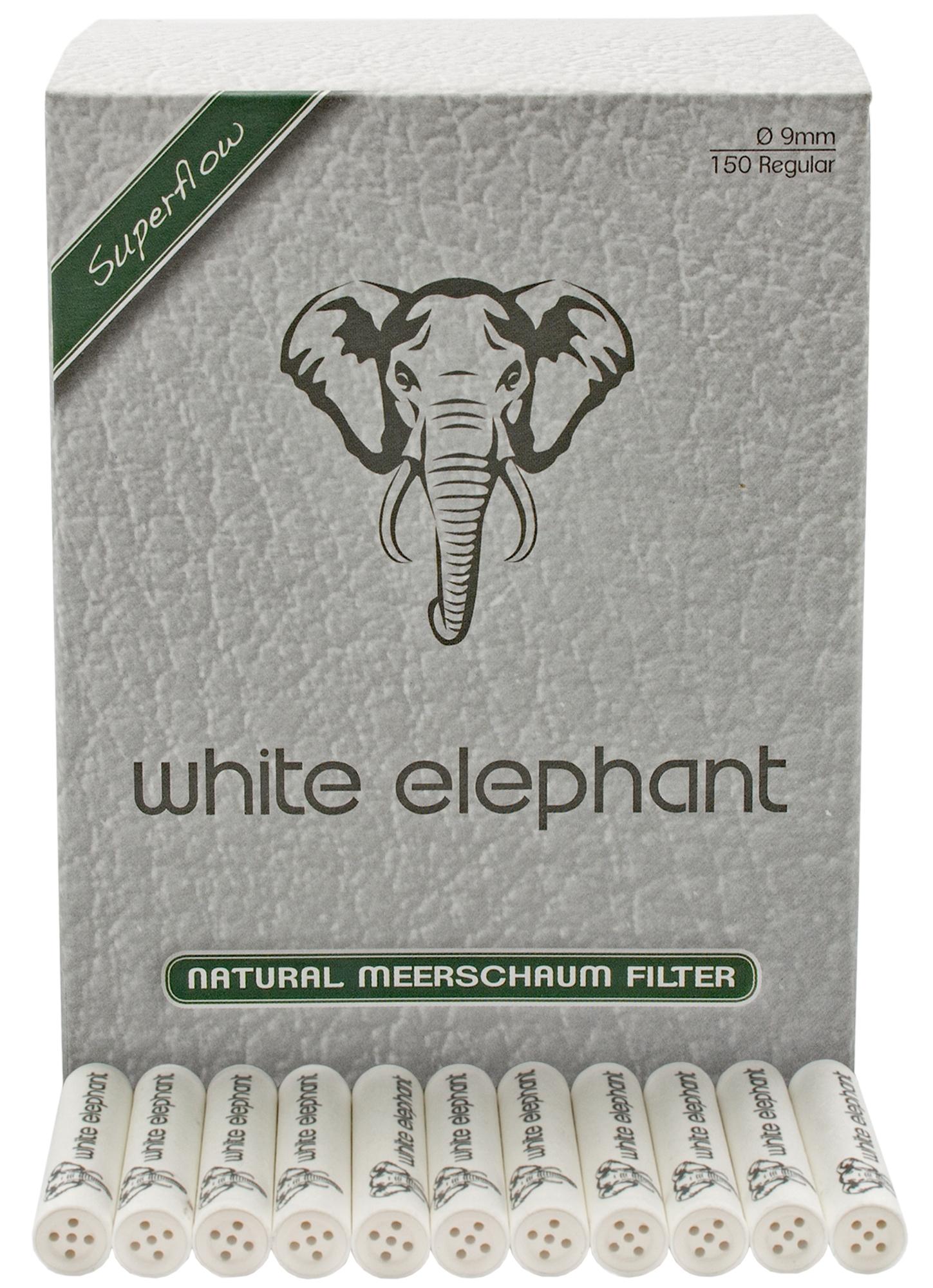Pfeifenfilter White Elephant 20mm Natural Meerschaum Superflow in 20er Box